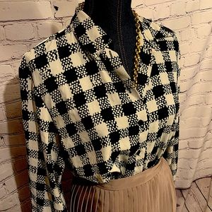 Vintage Alia Button Down Check Blouse